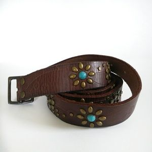 💥Sold💥Lucky Brand Turquoise Leather Belt Sz XL